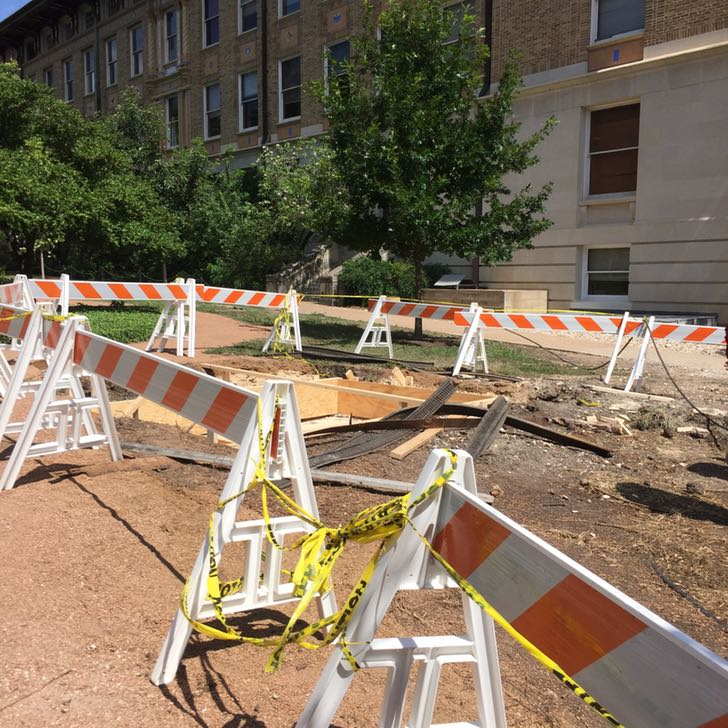 Photo of construction around memorial pond